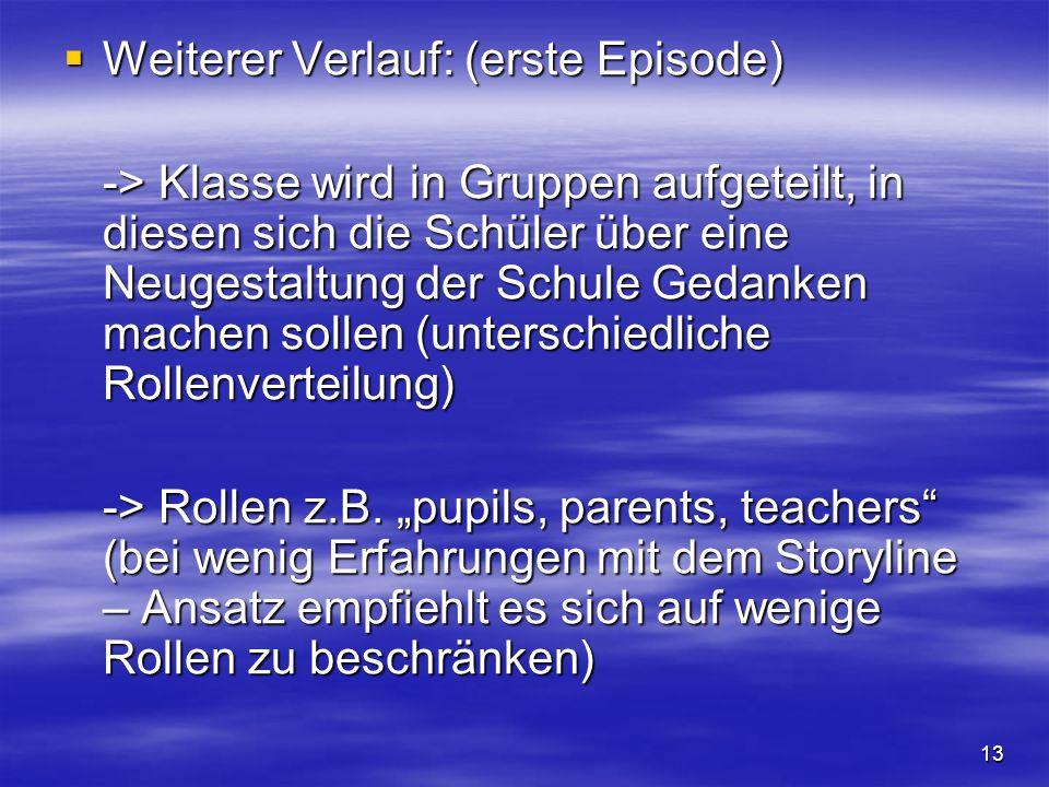 13 Weiterer Verlauf: (erste Episode) Weiterer Verlauf: (erste Episode) -> Klasse wird in Gruppen aufgeteilt, in diesen sich die Schüler über eine Neug