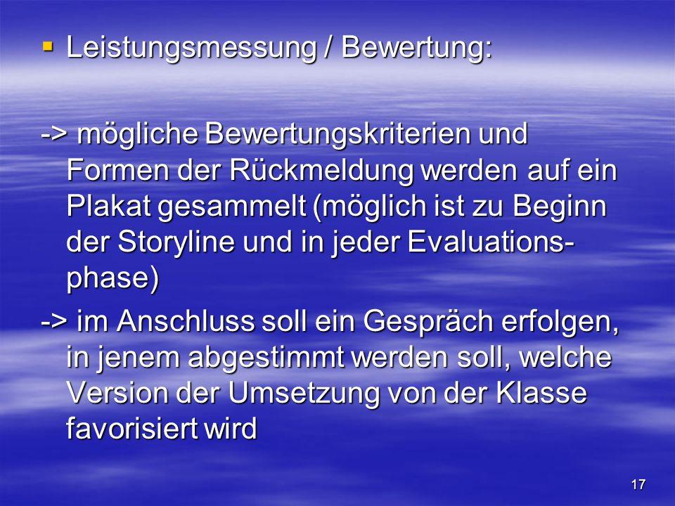 17 Leistungsmessung / Bewertung: Leistungsmessung / Bewertung: -> mögliche Bewertungskriterien und Formen der Rückmeldung werden auf ein Plakat gesamm