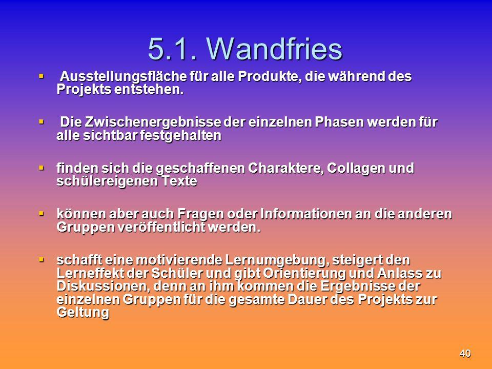 40 5.1. Wandfries Ausstellungsfläche für alle Produkte, die während des Projekts entstehen. Ausstellungsfläche für alle Produkte, die während des Proj