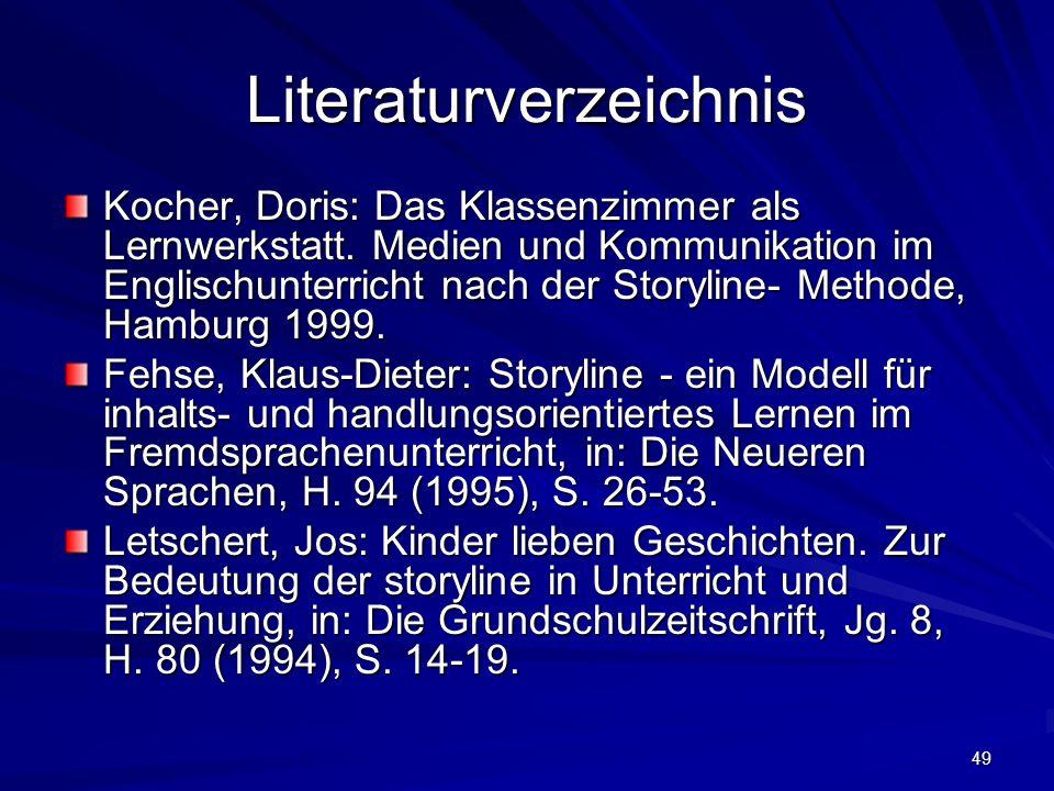 49 Literaturverzeichnis Kocher, Doris: Das Klassenzimmer als Lernwerkstatt. Medien und Kommunikation im Englischunterricht nach der Storyline- Methode