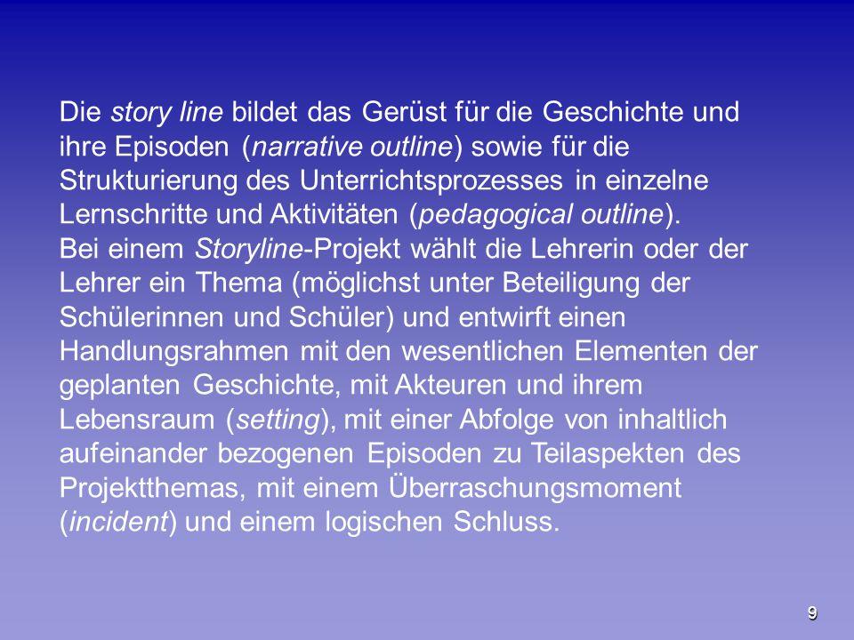 9 Die story line bildet das Gerüst für die Geschichte und ihre Episoden (narrative outline) sowie für die Strukturierung des Unterrichtsprozesses in e