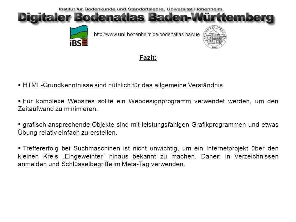 http://www.uni-hohenheim.de/bodenatlas-bawue Realisierung des Projekts Hochladen (uploaden) des Projekts beim Internetprovider (=Uni Hohenheim).
