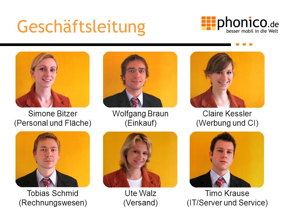 Geschäftsleitung Simone Bitzer (Personal und Fläche) Wolfgang Braun (Einkauf) Claire Kessler (Werbung und CI) Timo Krause (IT/Server und Service) Tobi
