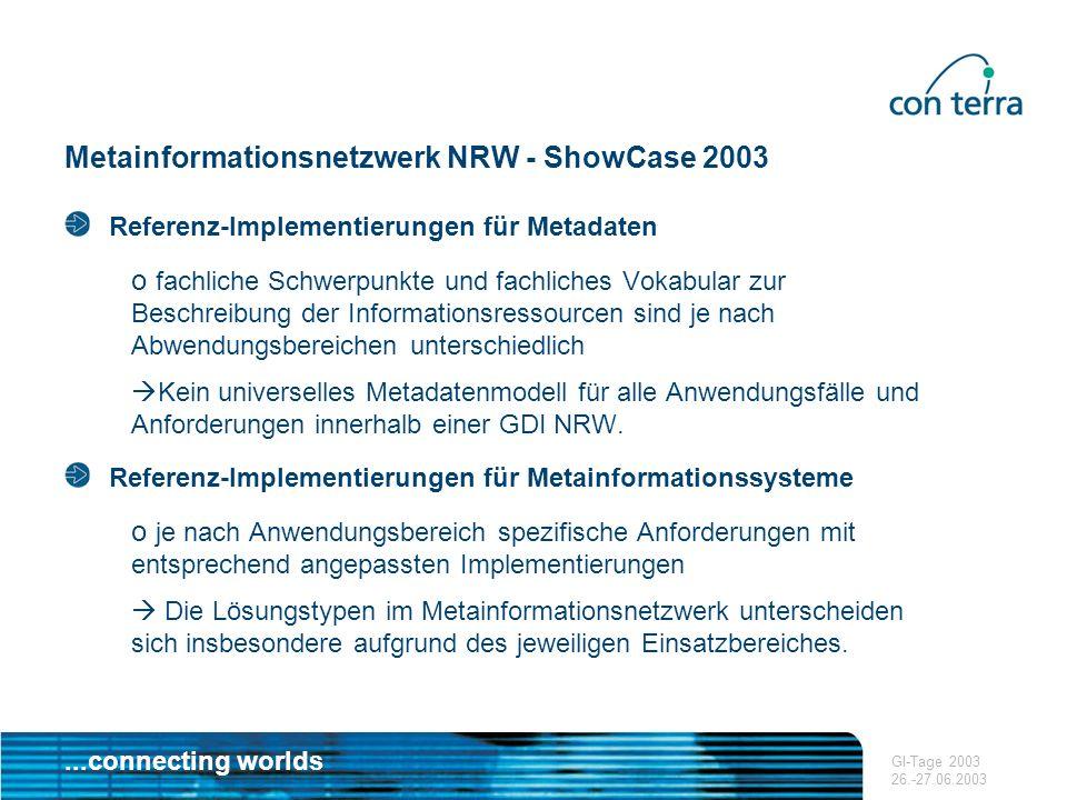 ...connecting worlds GI-Tage 2003 26.-27.06.2003 Metainformationsnetzwerk NRW - ShowCase 2003 Referenz-Implementierungen für Metadaten o fachliche Sch