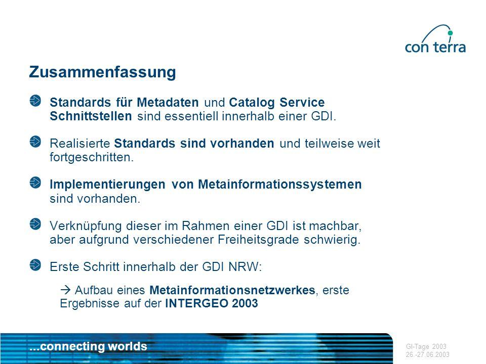 ...connecting worlds GI-Tage 2003 26.-27.06.2003 Zusammenfassung Standards für Metadaten und Catalog Service Schnittstellen sind essentiell innerhalb