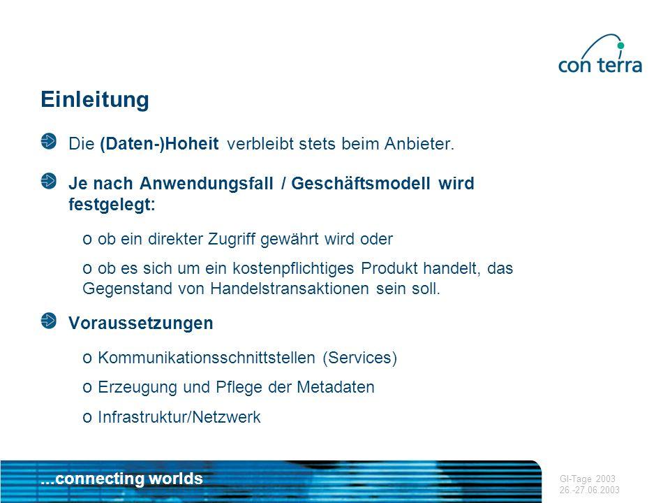 ...connecting worlds GI-Tage 2003 26.-27.06.2003 Aufbau eines Metainformationsnetzwerkes Derzeitige Situation o Catalog Services sind im Rahmen einer funktionierenden GDI ein zentraler Bestandteil.