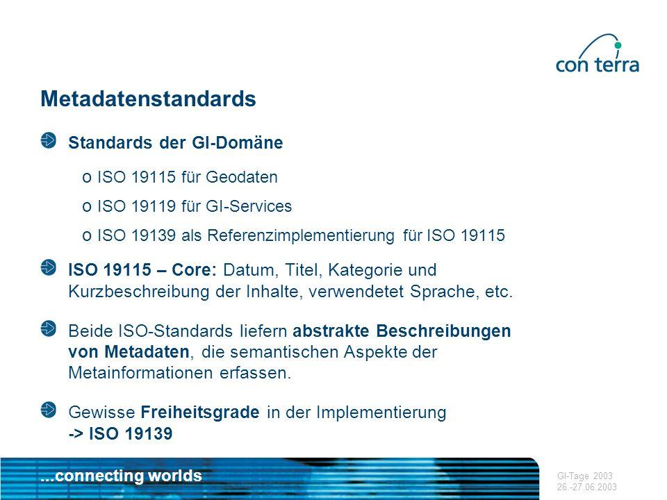 ...connecting worlds GI-Tage 2003 26.-27.06.2003 Metadatenstandards ISO 19119 Geographic Information Services beschreibt Metadatenelementen, die die automatisierte Nutzung verteilter GI-Dienste ermöglichen.