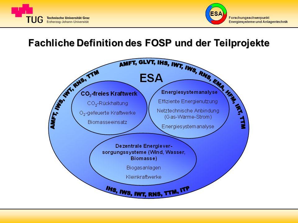 ESA Forschungsschwerpunkt Energiesysteme und Anlagentechnik Fachliche Definition des FOSP und der Teilprojekte