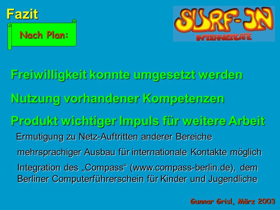 Gunnar Grisl, März 2003 Die Vorgehensweise Brainstorming über die Inhalte Diskussion z.B.