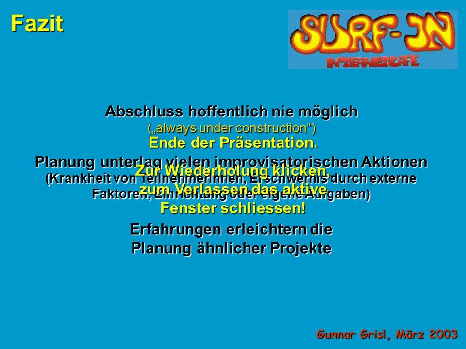 Nicht nach Plan: Gunnar Grisl, März 2003 Fazit Keine zusätzlichen finanziellen Mittel erhalten Administrator in wichtigster Phase nicht verfügbar aktueller Webspace z.Z.