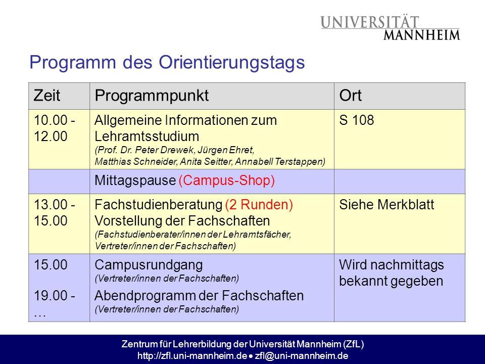 Zentrum für Lehrerbildung der Universität Mannheim (ZfL) http://zfl.uni-mannheim.de zfl@uni-mannheim.de Programm des Orientierungstags ZeitProgrammpun