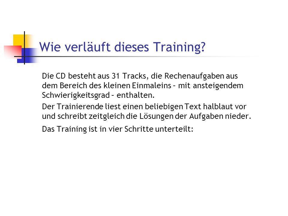 Wie verläuft dieses Training? Die CD besteht aus 31 Tracks, die Rechenaufgaben aus dem Bereich des kleinen Einmaleins – mit ansteigendem Schwierigkeit