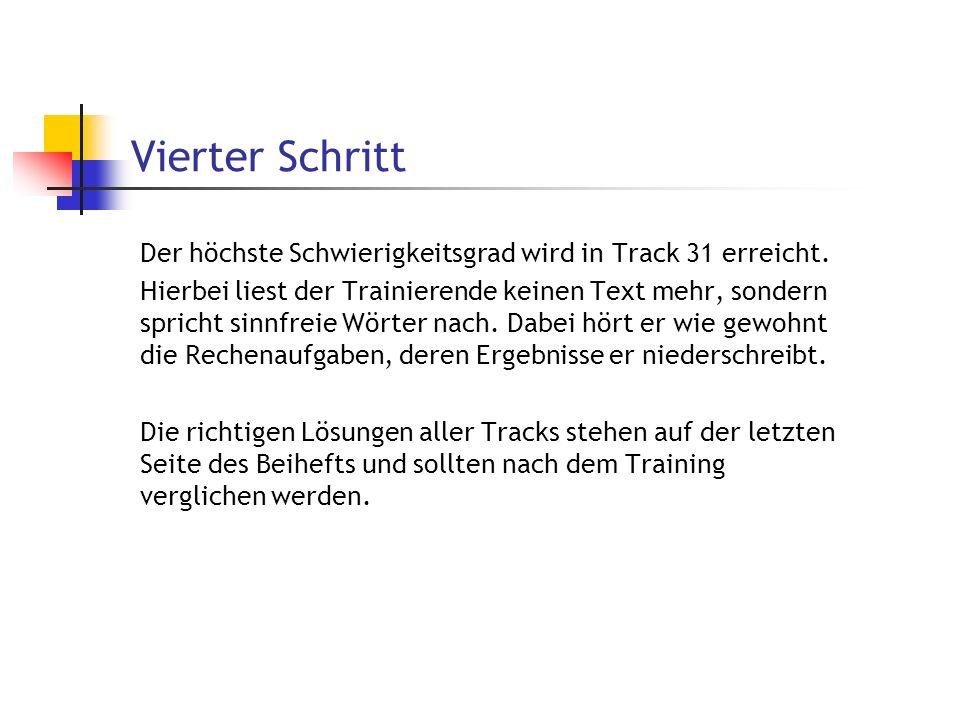 Vierter Schritt Der höchste Schwierigkeitsgrad wird in Track 31 erreicht. Hierbei liest der Trainierende keinen Text mehr, sondern spricht sinnfreie W