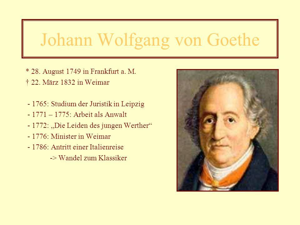Dichter der Epoche - Johann Wolfgang von Goethe (1749 – 1832) - Friedrich Maximilian Klinger (1752 – 1831) - Jakob Michael Reinhold Lenz (1751 – 1792)