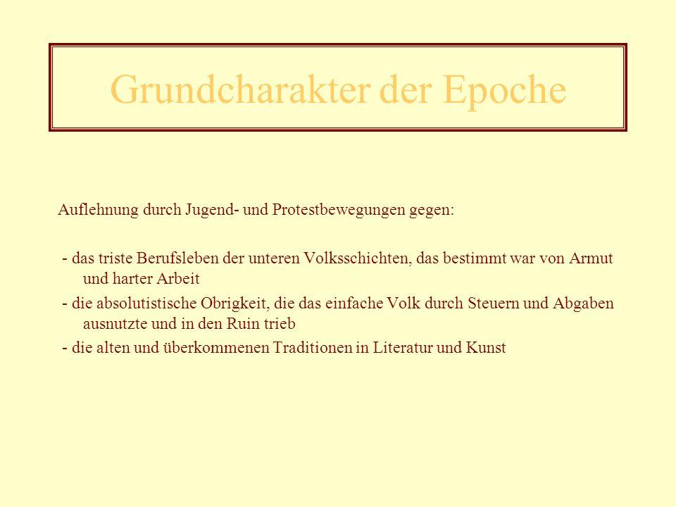 Allgemeine Informationen zur Epoche - 1767 bis 1785 - Benannt nach einem Werk von Klinger - Geniezeit oder zeitgenössische Genieperiode - Beginn mit d