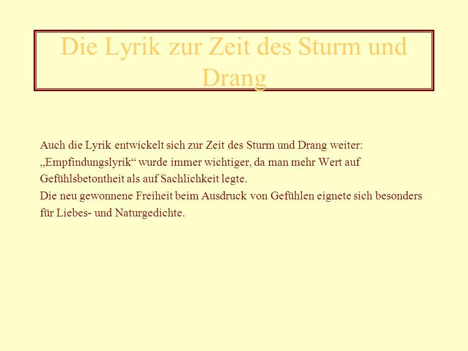 Benutzte Textquellen http://www.ni.schule.de/~pohl/literatur/epochen/stdrang.htm (12.01.2006); http://de.wikipedia.org/wiki/Sturm_und_Drang (12.01.2006); http://www.literaturwelt.com/epochen/sturm.html (12.01.2006); http://www.liebesgedichte.siteware.ch/goethe/index/html (15.01.2006); http://www.jena.de/kultur/lenz2003_2.htm (15.01.2006); http://www.freidrich-von-schiller.de/zeittafel.htm (15.01.2006); http://www.lehrer.uni-karlsruhe.de/~za874/homepage/klinger.htm (16.01.2006); http://www.literaturatlas.de/~la2/konhain.htm (16.01.2006); http://www.sewanee.edu/german/Literatur/schiller/html (22.01.2006); Die Leiden des jungen Werther von Johann Wolfgang von Goethe im Ferdinand Schöningh Verlag, 2001; Das moderne Lexikon in zwanzig Bänden, Bertelsmann Lexikon-Verlag, 1973