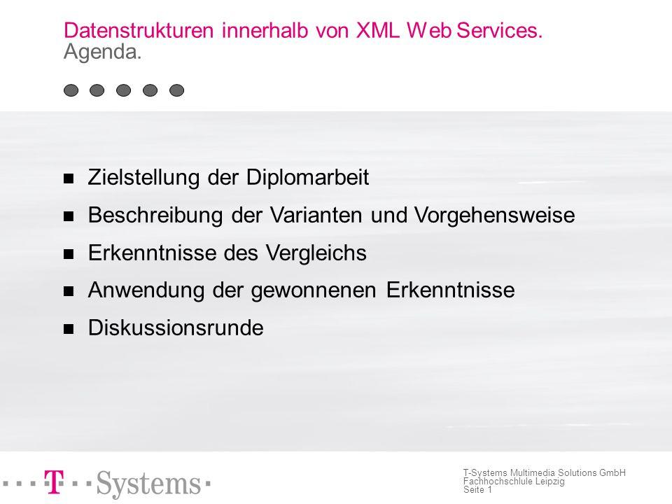Seite 11 T-Systems Multimedia Solutions GmbH Fachhochschlule Leipzig Deployment, Test und Performance Deploymentmehraufwand gleich groß Testmehraufwand bei FLADA leicht größer - Intermediate Web Service Performancevorteil für Variante HIDA - 35 % Verarbeitungsgewinn Datenstrukturen innerhalb von XML Web Services.