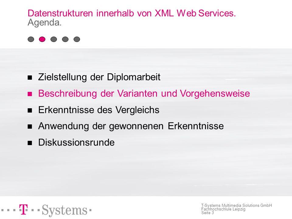 Seite 3 T-Systems Multimedia Solutions GmbH Fachhochschlule Leipzig Datenstrukturen innerhalb von XML Web Services.