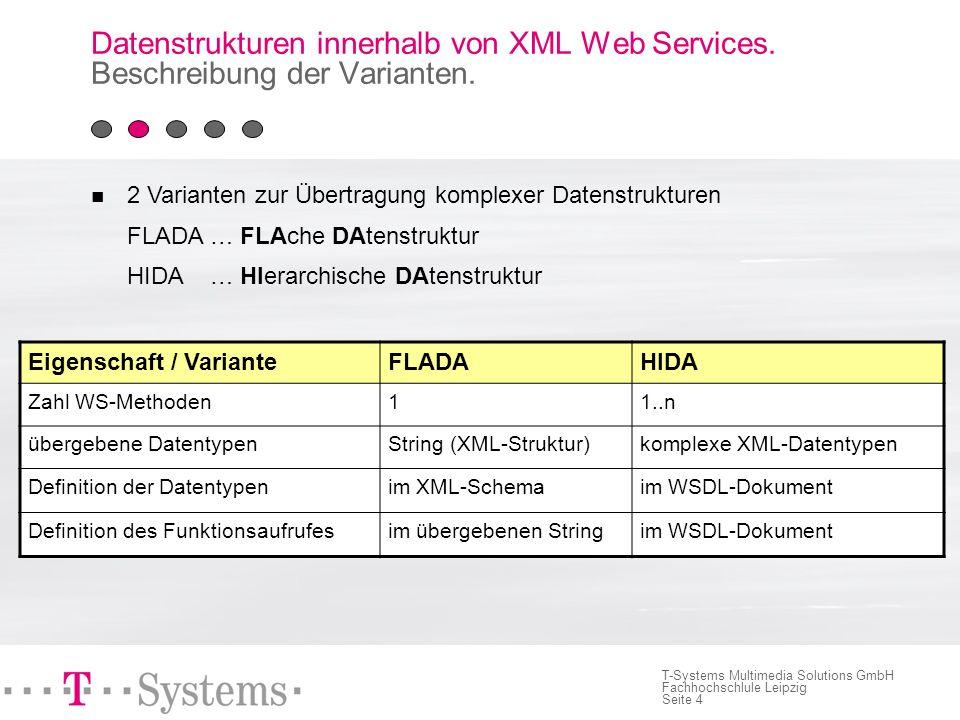 Seite 4 T-Systems Multimedia Solutions GmbH Fachhochschlule Leipzig 2 Varianten zur Übertragung komplexer Datenstrukturen FLADA … FLAche DAtenstruktur HIDA … HIerarchische DAtenstruktur Datenstrukturen innerhalb von XML Web Services.