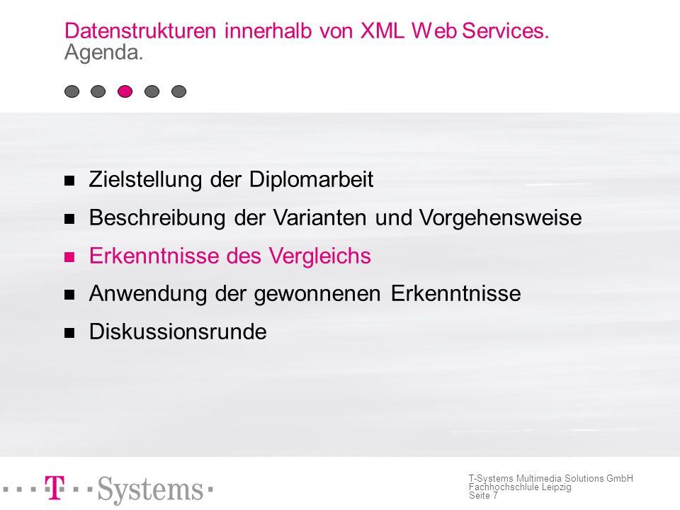 Seite 7 T-Systems Multimedia Solutions GmbH Fachhochschlule Leipzig Datenstrukturen innerhalb von XML Web Services.