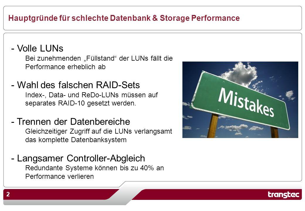 2 Hauptgründe für schlechte Datenbank & Storage Performance - Volle LUNs Bei zunehmenden Füllstand der LUNs fällt die Performance erheblich ab - Wahl des falschen RAID-Sets Index-, Data- und ReDo-LUNs müssen auf separates RAID-10 gesetzt werden.