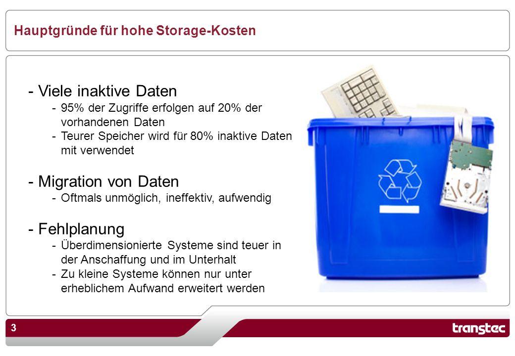 3 Hauptgründe für hohe Storage-Kosten - Viele inaktive Daten -95% der Zugriffe erfolgen auf 20% der vorhandenen Daten -Teurer Speicher wird für 80% in