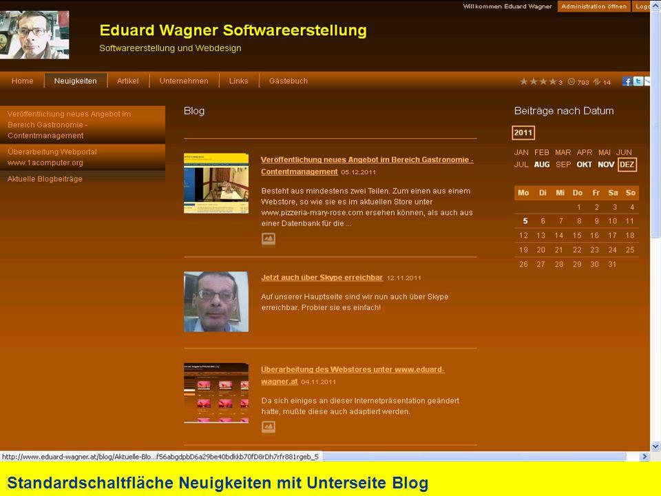 Standardschaltfläche Neuigkeiten mit Unterseite Blog