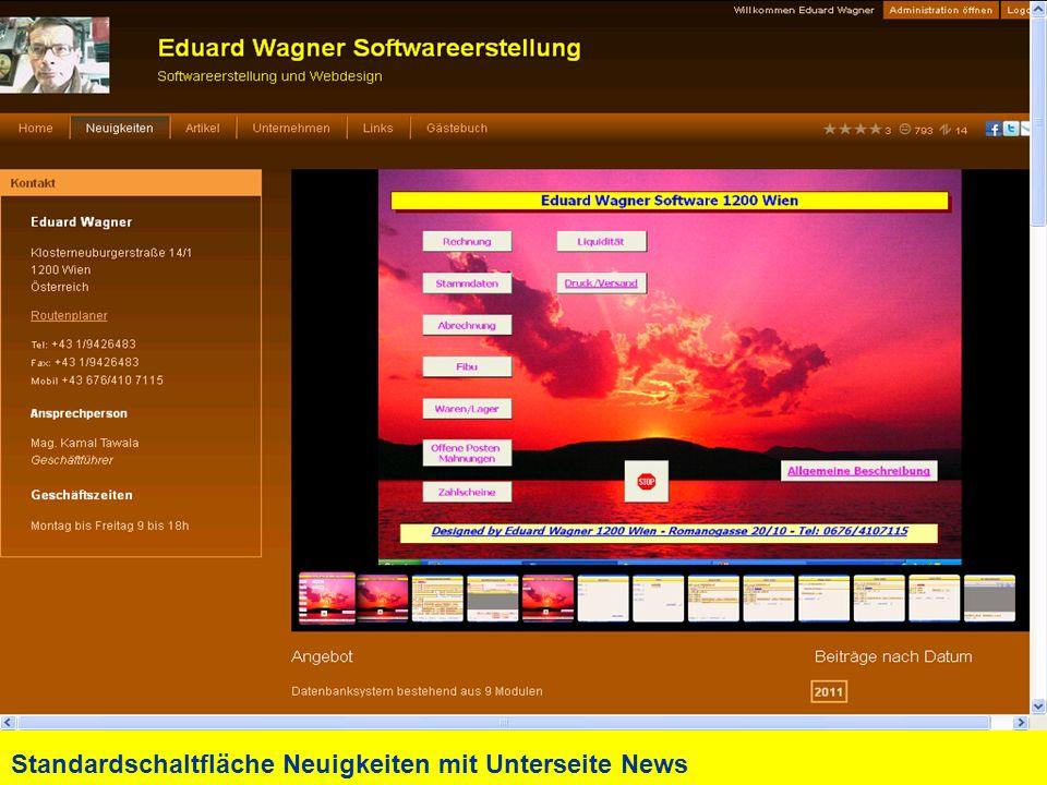 Standardschaltfläche Neuigkeiten mit Unterseite News
