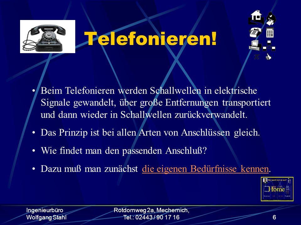 Ingenieurbüro Wolfgang Stahl Rotdornweg 2a, Mechernich, Tel.: 02443 / 90 17 166 Telefonieren! Beim Telefonieren werden Schallwellen in elektrische Sig