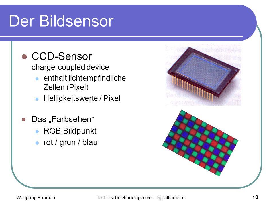 Wolfgang PaumenTechnische Grundlagen von Digitalkameras10 Der Bildsensor CCD-Sensor charge-coupled device enthält lichtempfindliche Zellen (Pixel) Hel