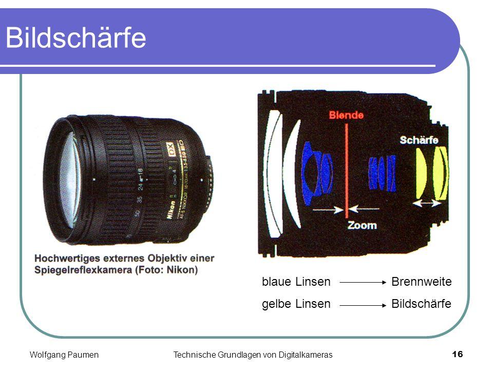 Wolfgang PaumenTechnische Grundlagen von Digitalkameras16 Bildschärfe blaue LinsenBrennweite gelbe LinsenBildschärfe