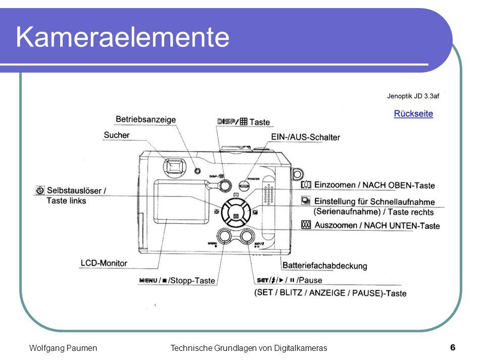 Wolfgang PaumenTechnische Grundlagen von Digitalkameras6 Kameraelemente