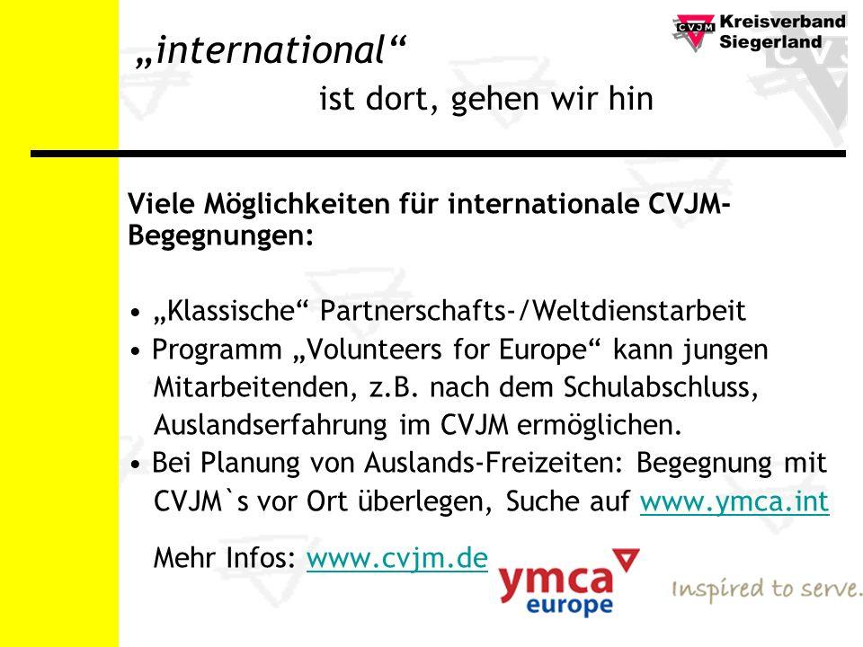 international ist dort, gehen wir hin Viele Möglichkeiten für internationale CVJM- Begegnungen: Klassische Partnerschafts-/Weltdienstarbeit Programm Volunteers for Europe kann jungen Mitarbeitenden, z.B.