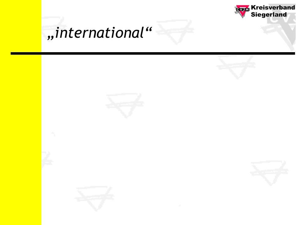International ist dort, gehen wir hin Kontakte in andere Länder International ist hier, wo Warenströme laufen Engagement für die Eine Welt International ist hier, mit Menschen Menschen bei uns