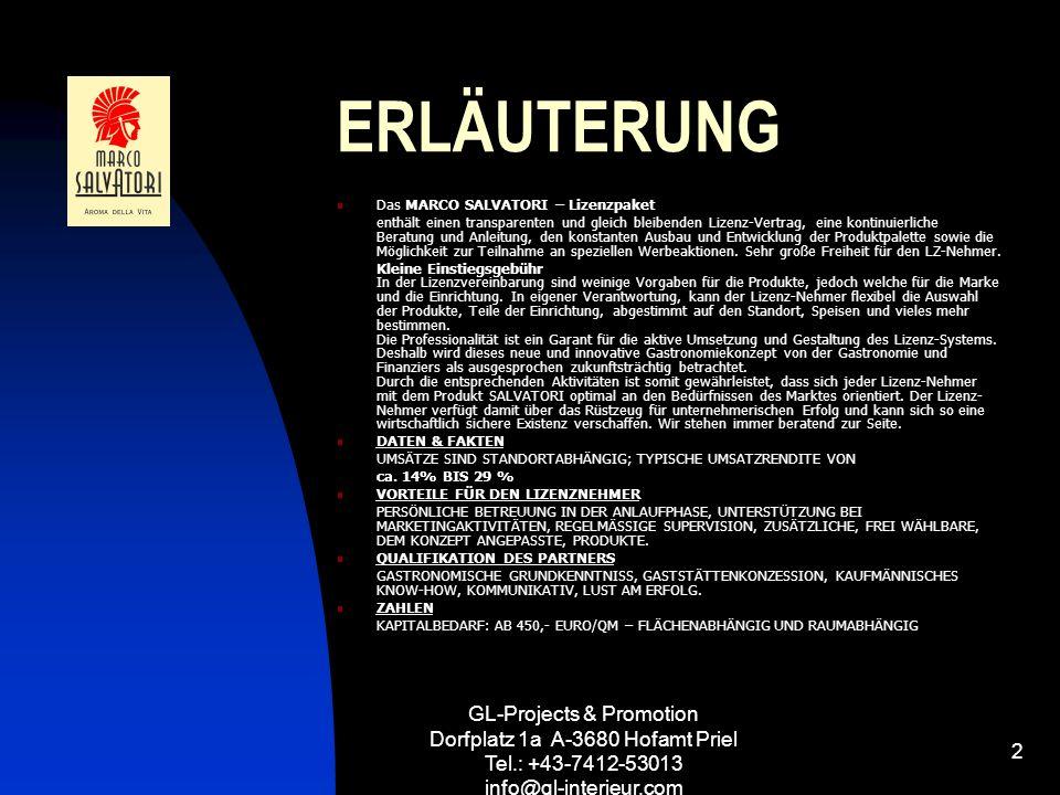 GL-Projects & Promotion Dorfplatz 1a A-3680 Hofamt Priel Tel.: +43-7412-53013 info@gl-interieur.com 2 ERLÄUTERUNG Das MARCO SALVATORI – Lizenzpaket en