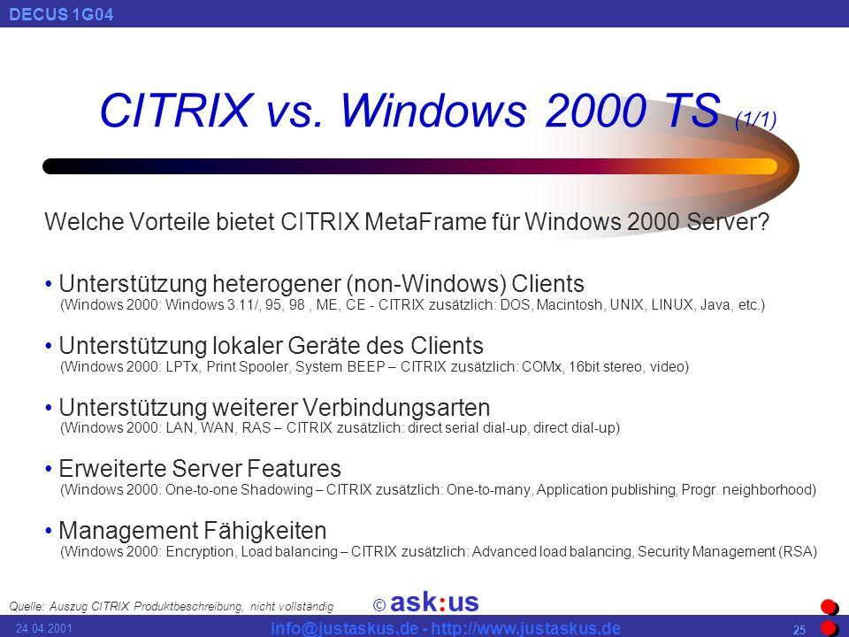 © ask : us DECUS 1G04 info@justaskus.de - http://www.justaskus.de 24.04.2001 25 CITRIX vs.