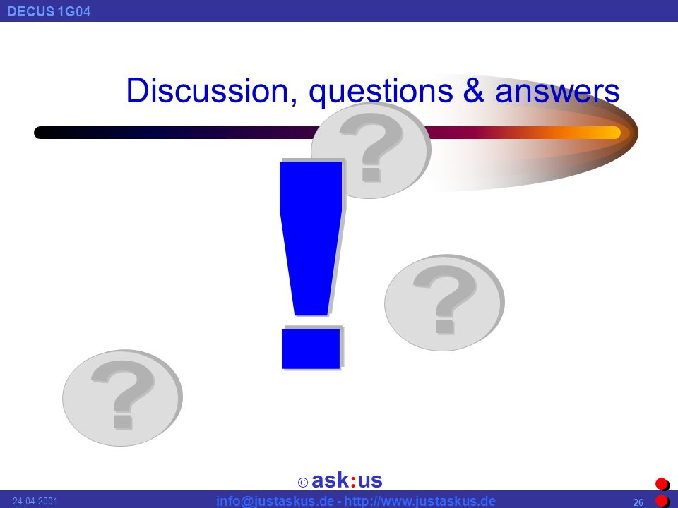 © ask : us DECUS 1G Discussion, questions & answers