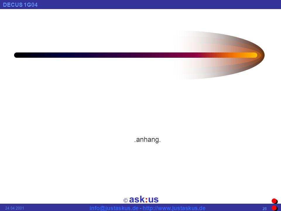 © ask : us DECUS 1G04 info@justaskus.de - http://www.justaskus.de 24.04.2001 28.anhang.