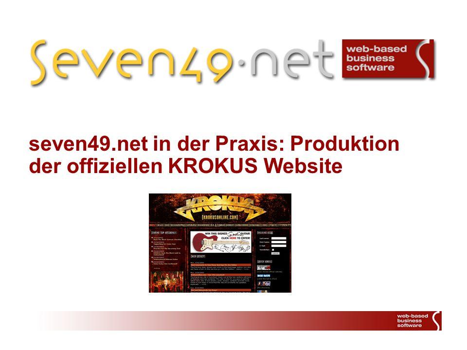 seven49.net in der Praxis: Produktion der offiziellen KROKUS Website
