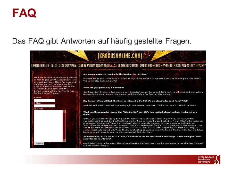 23 FAQ Das FAQ gibt Antworten auf häufig gestellte Fragen.