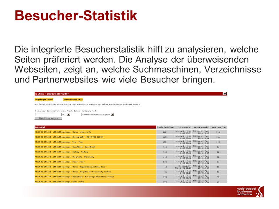 27 Besucher-Statistik Die integrierte Besucherstatistik hilft zu analysieren, welche Seiten präferiert werden.