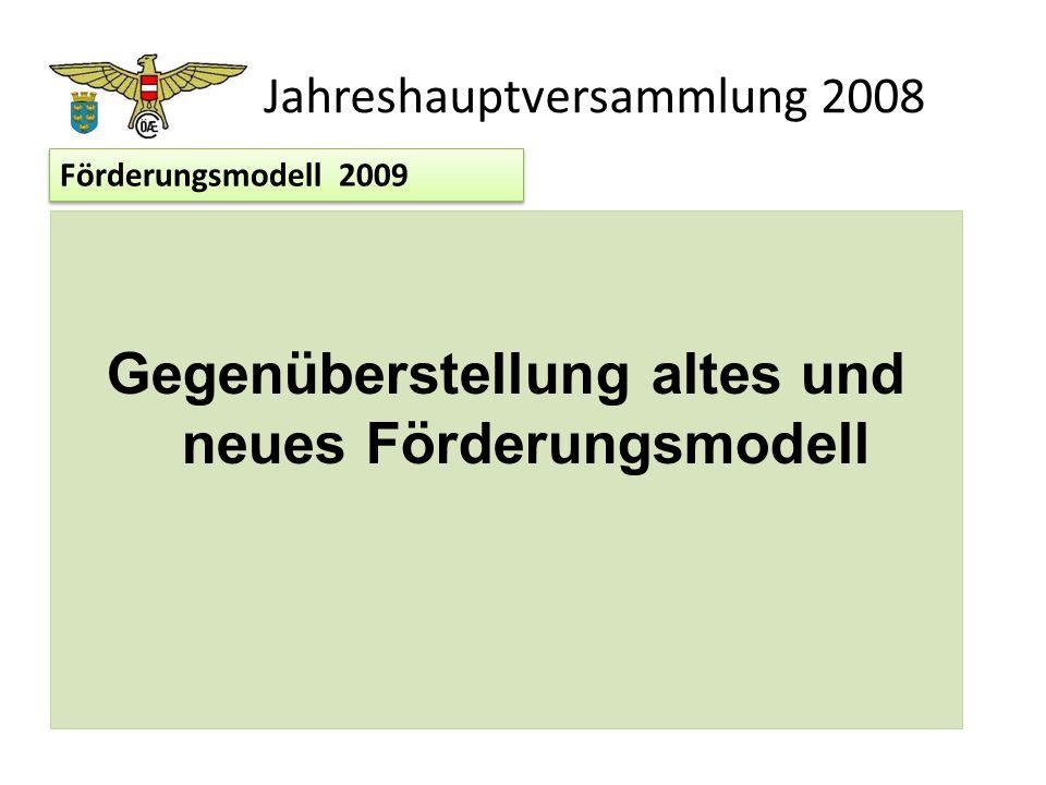 Jahreshauptversammlung 2008 Gegenüberstellung altes und neues Förderungsmodell Förderungsmodell 2009