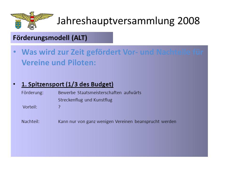 Jahreshauptversammlung 2008 Was wird zur Zeit gefördert Vor- und Nachteile für Vereine und Piloten: 1.
