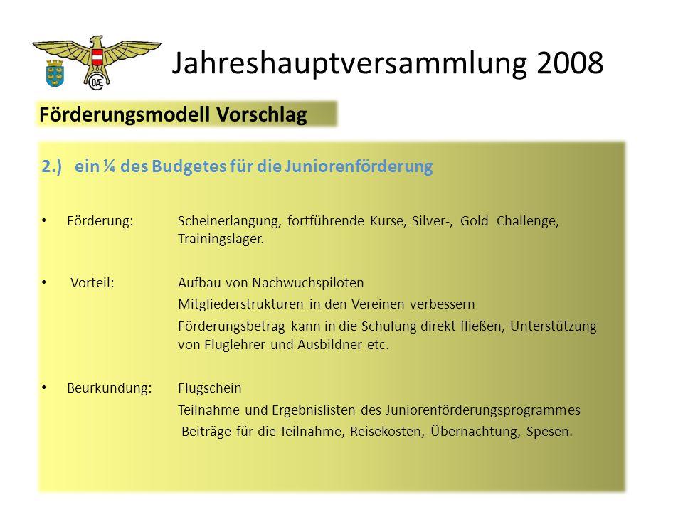 Jahreshauptversammlung 2008 2.) ein ¼ des Budgetes für die Juniorenförderung Förderung:Scheinerlangung, fortführende Kurse, Silver-, Gold Challenge, Trainingslager.