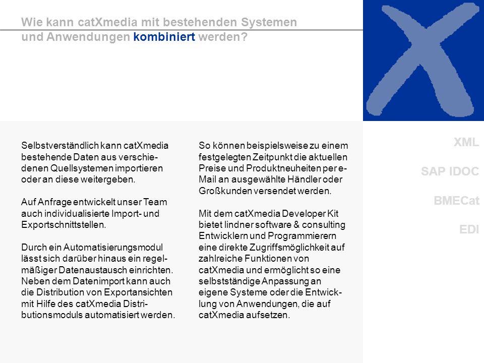 Unternehmen/2 Kombinationsmöglichkeiten Wie kann catXmedia mit bestehenden Systemen und Anwendungen kombiniert werden? So können beispielsweise zu ein