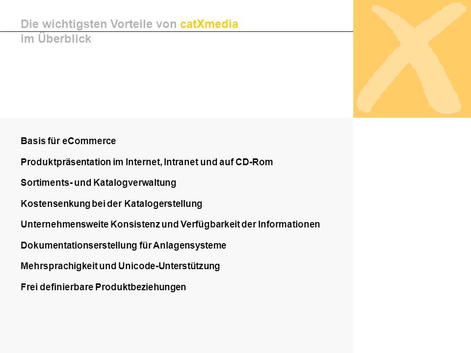 Basis für eCommerce Produktpräsentation im Internet, Intranet und auf CD-Rom Sortiments- und Katalogverwaltung Kostensenkung bei der Katalogerstellung