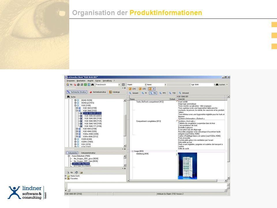Organisation der Produktinformationen / 1 Organisation der Produktinformationen