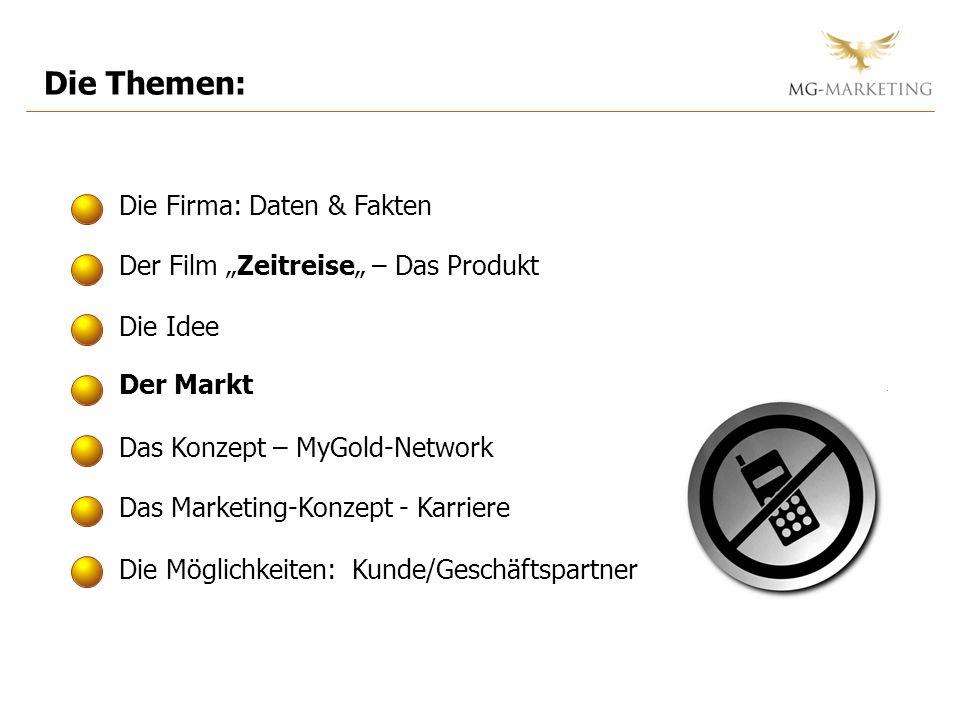 Die Themen: Die Firma: Daten & Fakten Der Film Zeitreise – Das Produkt Die Idee Der Markt Das Marketing-Konzept - Karriere Das Konzept – MyGold-Network Die Möglichkeiten: Kunde/Geschäftspartner
