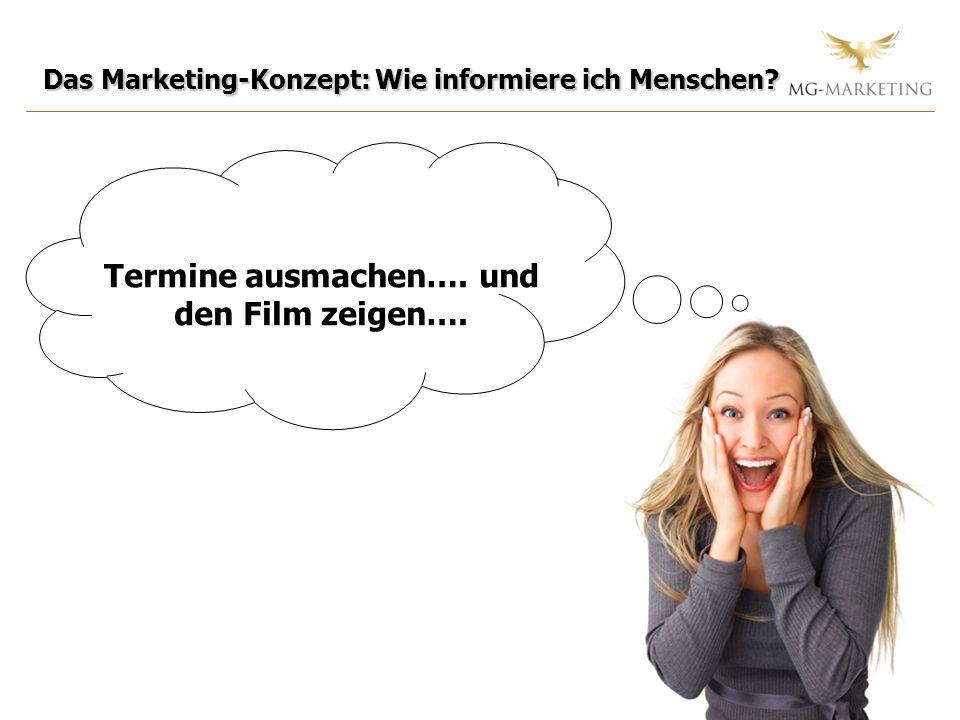 Das Marketing-Konzept: Wie informiere ich Menschen? Termine ausmachen…. und den Film zeigen….