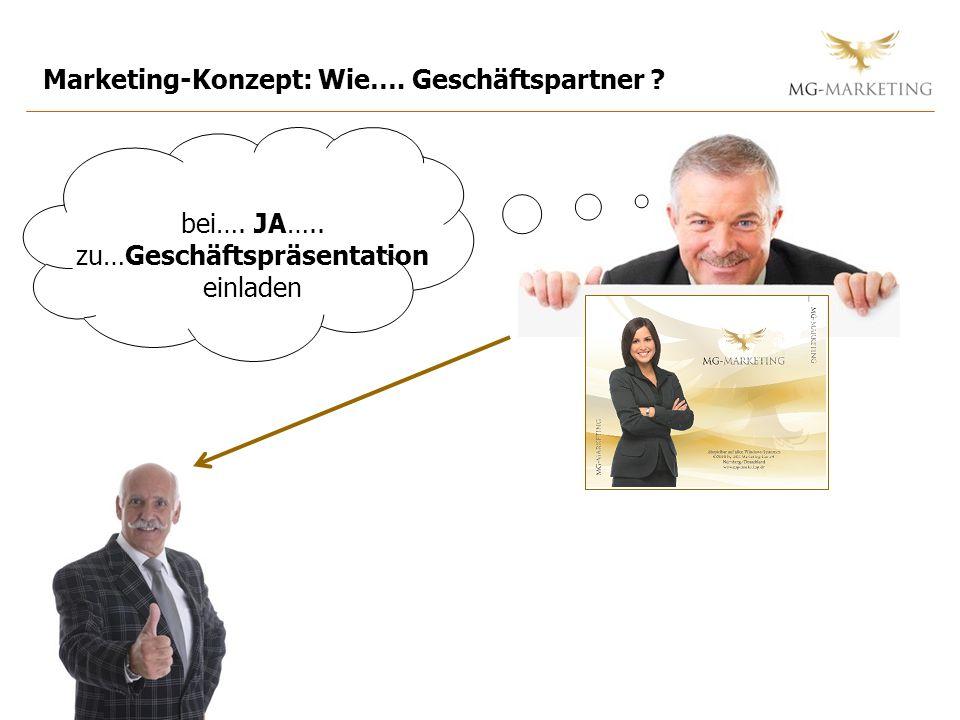 Marketing-Konzept: Wie…. Geschäftspartner ? bei…. JA….. zu…Geschäftspräsentation einladen